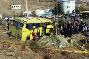 واژگونی اتوبوس در محور میامی - سبزوار ۱۷ مصدوم داشت