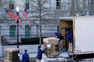 وسایل ترامپ در حال بستهبندی در کاخسفید